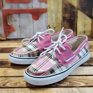 Sperry Top-Sider Pink Plaid Boat Shoes Size 7.5